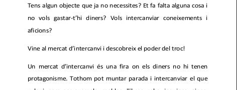 3r MERCAT D'INTERCANVI DE CORNUDELLA DE MONTSANT